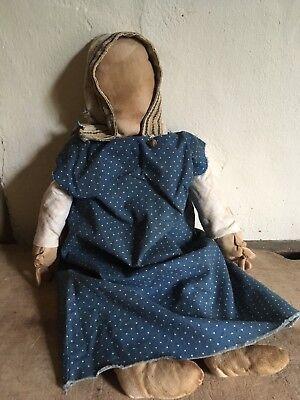 Big Sweet Handmade Rag Doll Early Antique Blue Calico Outfit Hand Sewn AAFA