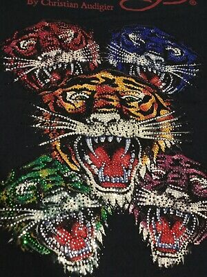 ED HARDY T-Shirt by CHRISTIAN AUDIGIER 5 Tiger Full Rhinestone Black Large NWT Ed Hardy New Tiger