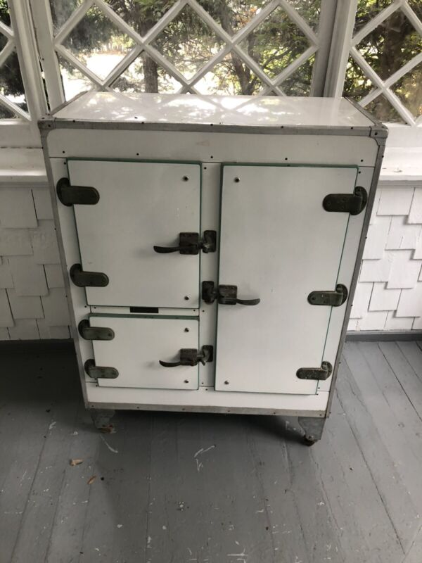 Antique Metal Ice Box Refrigerator Manufactured By Crystal Refrigerator Co.