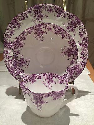 "Shelley Dainty Mauve Trio cup saucer 8"" Salad Plate 051/M Bone china England"