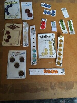Job Lot Vintage Buttons On Original Cards Lucky Lady, Jason, Fashionwise