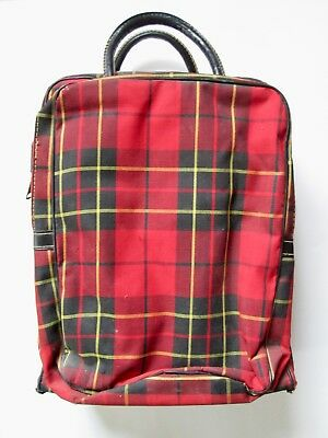 Vintage mid century red plaid picnic tote set with 2 Thermos sliding top box