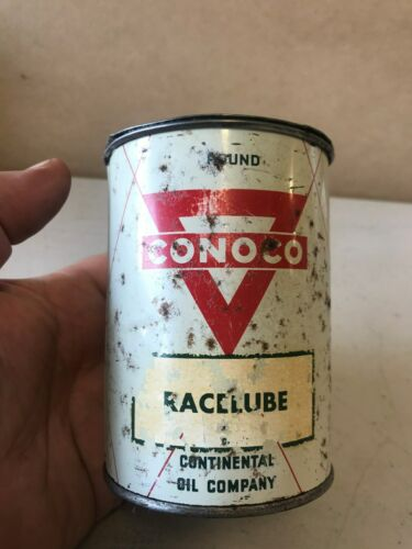 Old Vintage CONOCO 1 pound can of RACELUBE tin oil can empty