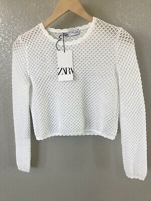 Zara White Knit Cropped Top Size S New With Tags