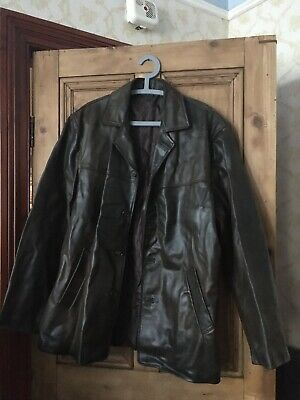 XL Vera Pelle Italian Leather Men's Dark Brown Jacket Coat Retro Vintage Large