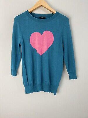 J.Crew Green Tibbi Love Heart Merino Wool Jumper L 12-14 UK