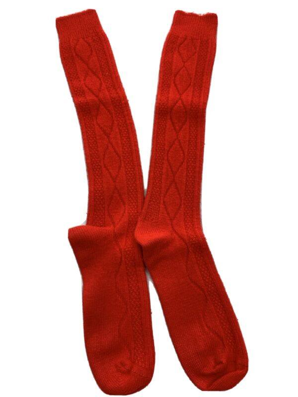 Vintage Red Cable Knit Fuzzy Soft Knee High Orlon Acrylic Socks School Girl
