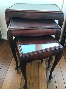 Set of 3 beautiful antique wooden side tables / nesting tables Mosman Mosman Area Preview