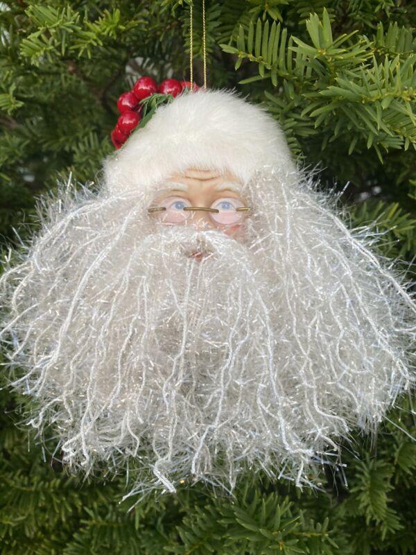 Santa Head Christmas Ornament Fuzzy Beard