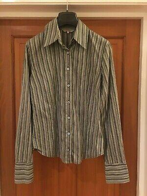MaxMara iBlues Grey Striped Ladies Shirt Size UK 10 IT 42