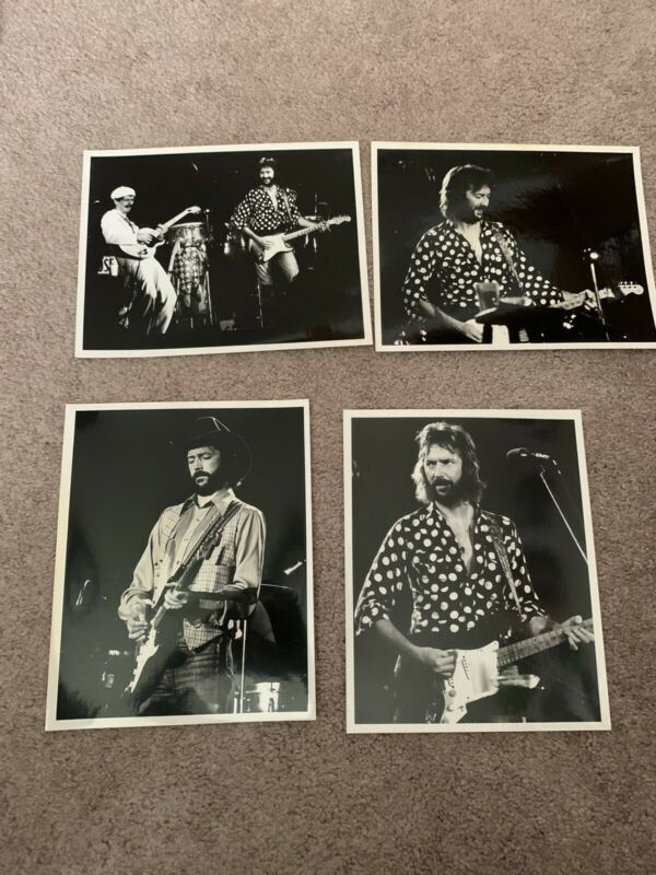 4 Eric Clapton 8 x 10 photos In Black And White High Gloss Dated  Free Bonus