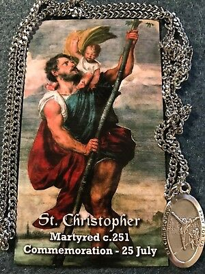 Football Medal Necklace with St. Christopher and Two Free Prayer (Christopher Football Medal)