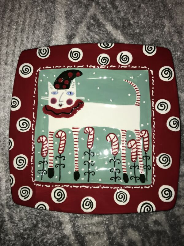 Bloom For Bethany Lowe Designs Platter Large Plate Christmas Cat Candy Canes