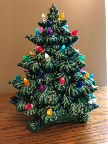 "Vintage Atlantic Ceramic Lighted Christmas Tree 2-Piece Decorative 8 3/4"" High"