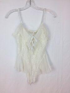 Vintage Victoria Secret White Bridal Lingerie Teddy Snap Crotch Size Large