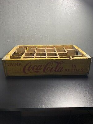 Vintage Coca-Cola Wooden Coke Bottle Yellow Soda Pop Crate Carrier Box Case