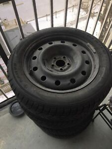 Brand new winter tires with steelies 5x100