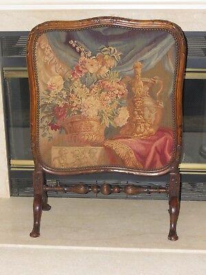 Antique Fireplace Screen Needlepoint Tapestry Panel w/ Walnut Frame Circa 1850  Framed Fireplace Screen