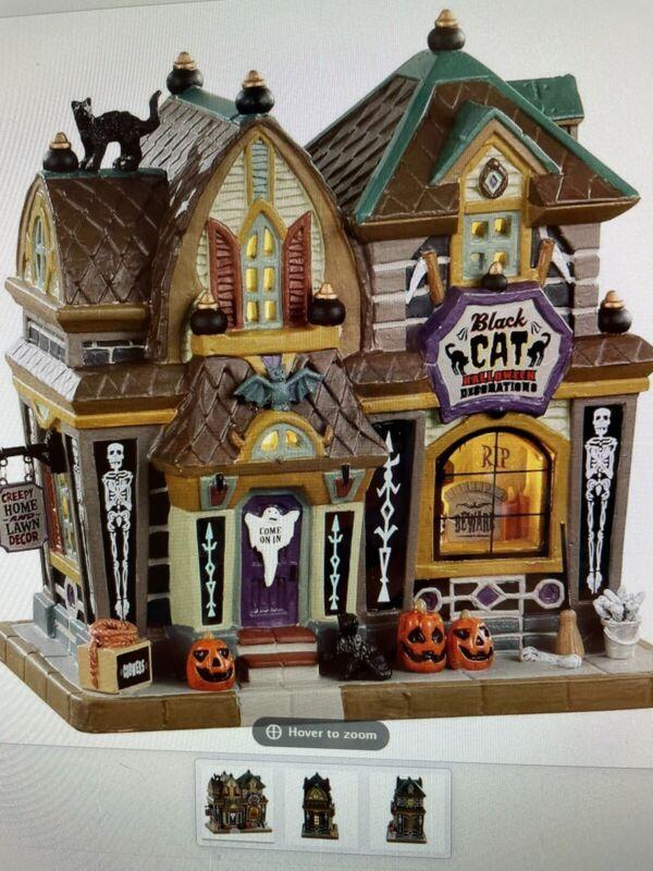 "Lemax Spooky Town ""Black Cat Hallloween Decor"" Porcelain Building NIB # 05610"