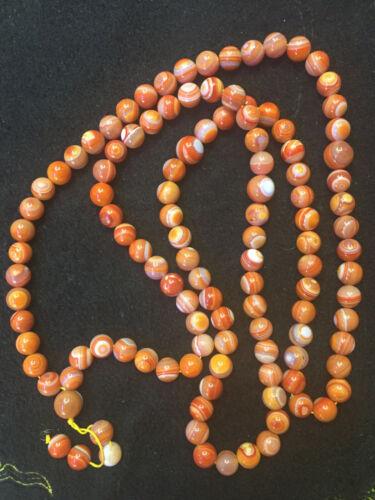 Rare 39 Inches Tibetan Natural Agate Dzi *Sky Eyed* 108 Beads Prayer Necklace