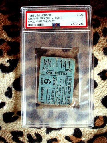 **PSA 1**1968 JIMI HENDRIX Ticket Stub w Identical Full Lam. Ticket-April 6,1968