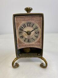 Timeworks Pendulum Brass Clock Desk Shelf Paris Pink Footed Battery Shabby Decor