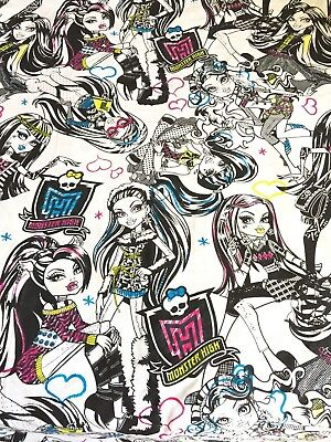 MONSTER HIGH Twin Flat & Fitted Bed Sheet Set - Quilting Fabric Material