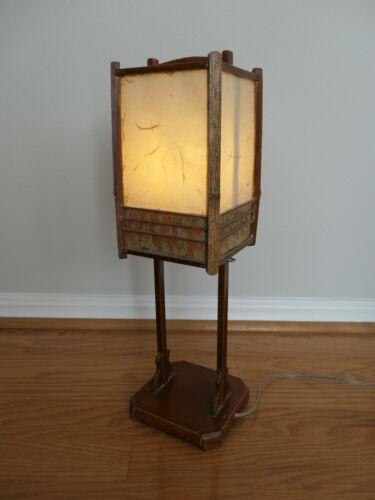 JAPANESE ANTIQUE BEDSIDE  PAPER AND WOOD LAMP - MEIJI ERA