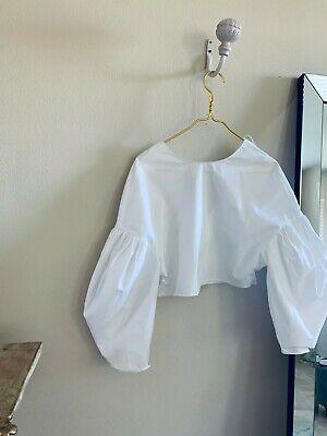 Zara White Cropped Blouse Small
