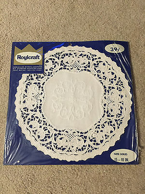 """Roylies 15 10""""  Paper Doilies  White Vintage unopened"""