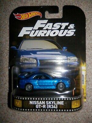 2016 Hot Wheels Retro Entertainment NISSAN SKYLINE GT-R (R34) Fast & Furious