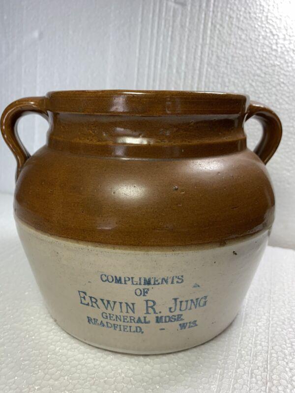 Erwin R.Jung Advertising Bean Pot. Readfield. Wisconsin