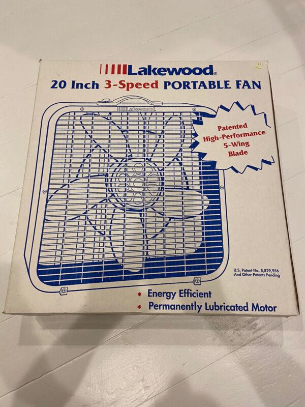 "NOS Vintage Lakewood 20"" 3 Speed 5 Wing Blade Portable Box Fan Model # 200/I USA"