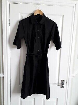 JOSEPH Black Cotton Short Sleeved Shirt Dress with Discreet Side Pockets Size 38