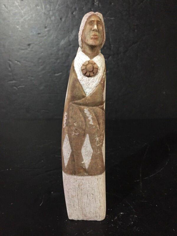 "Native American Indian red Alabaster Sculpture Signed HJ Navajo Statue art 8"""