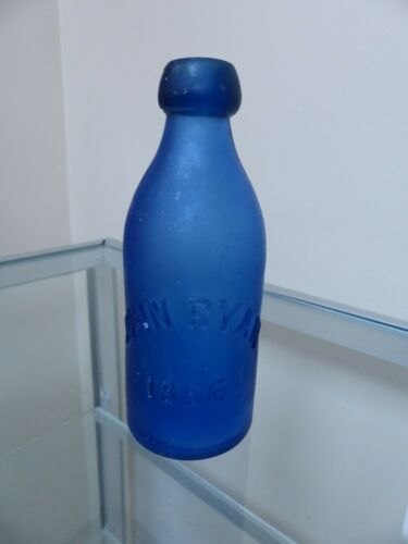 RARE Vintage 1866 John Ryan blue modified blob top soda water bottle Savannah Ga