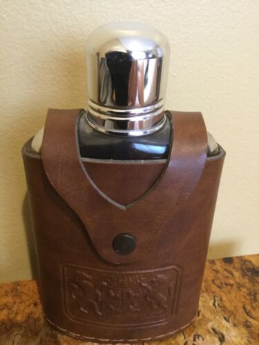 Vintage Irvinware- Glass Flask With Cap And Leather Case