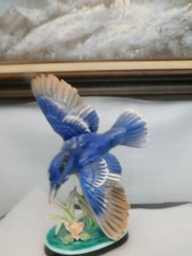 Beautiful Porcelain Blue Jay, Made in Japan by Vcagco
