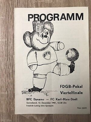 DDR Fußball Programm BFC Dynamo - FC Karl-Marx-Stadt vom 12.12.1981 (neu)