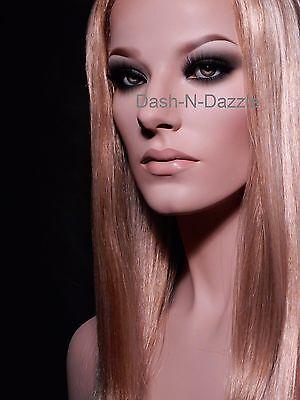 NEW TALL  Female mannequin wig bust  HAZEL GLASS EYES!