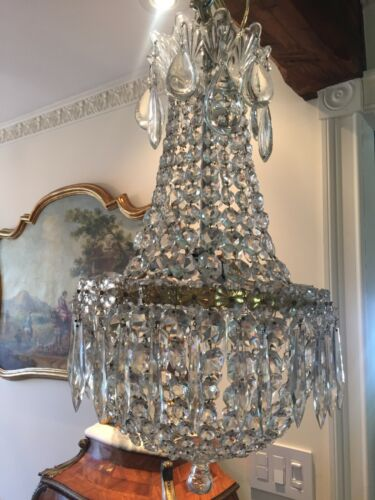 Very Fine Vintage French Beaded Basket Crystal Chandelier