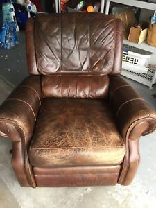 Brown leather lazyboy chair