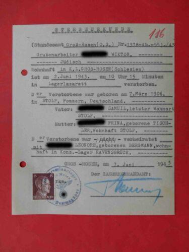 KZ Lager GROSS ROSEN 1943 RARE Genuine Document Judaica