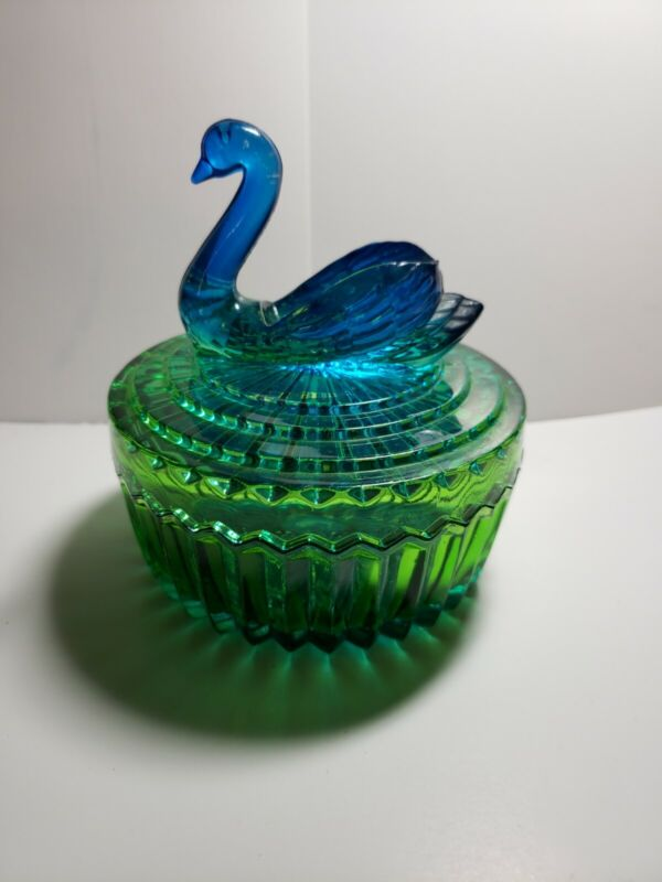 Vintage Jeannette Blue Green Glass Swan Covered Candy Dish Trinket Bowl Box Bird