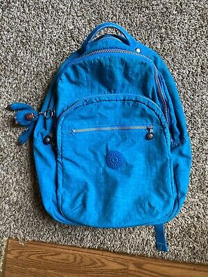 Kipling Seoul Large Backpack Laptop Protection Blue School Bag - Used