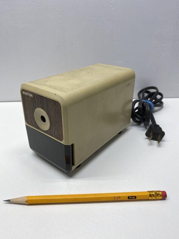 Boston Electric Pencil Sharpener Model 18 296A Wood Grain Vintage Tested