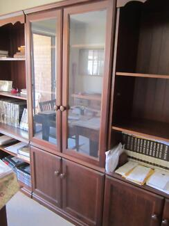 book shelves & matching glass cabinet good quality solid wood