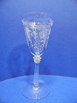 "Fostoria Romance Pattern Wine Glass Etched 5.5"" 3 Oz Stemware"