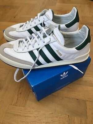 ADIDAS ORIGINALS JEANS TRAINERS WHITE/GREEN STRIPES  SIZE UK 9.5