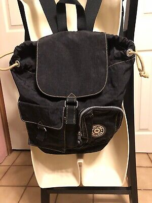 "KIPLING BLACK NYLON DRAWSTRING BACKPACK w/FRONT FLAP 12x13"", Adj. Straps"